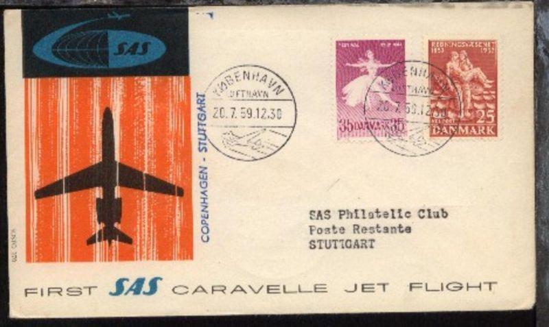 SAS-Erstflug-Bf. Kopenhagen-Stuttgart 20.7.1959