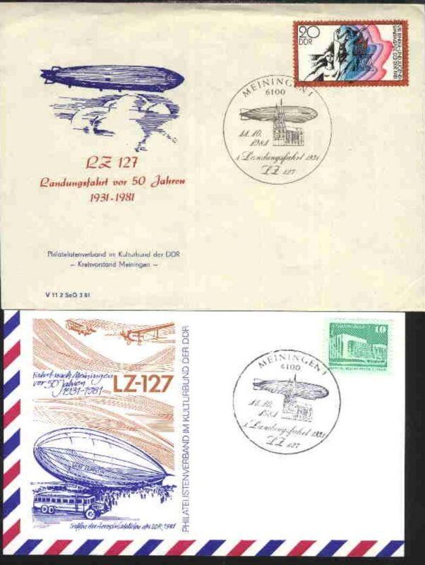 SSt. MEININGEN 1 11.10.1981 1.Landungsfahrt 1931 LZ 127 je blanko auf SPK bzw.
