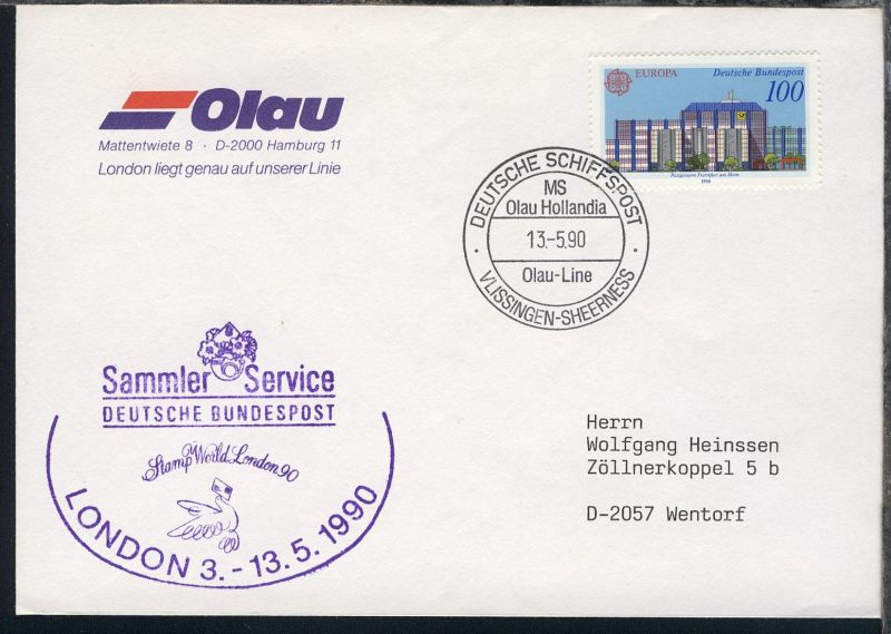 DEUTSCHE SCHIFFSPOST VLISSINGEN-SHERNESS MS Olau Hollandia Olau-Line 13.5.90