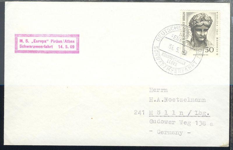 DEUTSCHE SCHIFFSPOST SCHWARZMEERFAHRT MS EUROPA NORDDEUTSCHER LLOYD 14.5.69