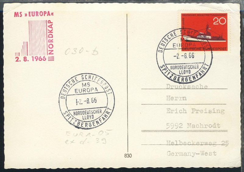 DEUTSCHE SCHIFFSPOST SPITZBERGENFAHRT MS EUROPA NORDDEUTSCHER LLOYD 2.8.66