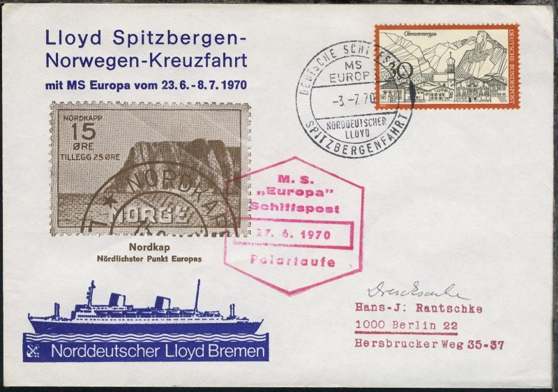 DEUTSCHE SCHIFFSPOST SPITZBERGENFAHRT MS EUROPA NORDDEUTSCHER LLOYD 3.7.70