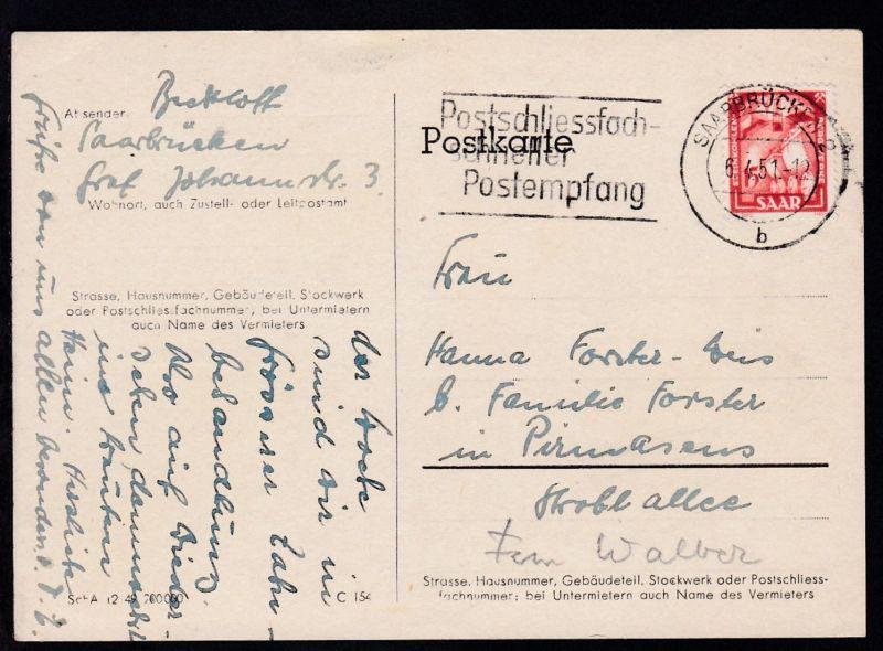 Freimarke 15 Fr. auf Postkarte ab Saarbrücken 6.4.51 nach Pirmasens