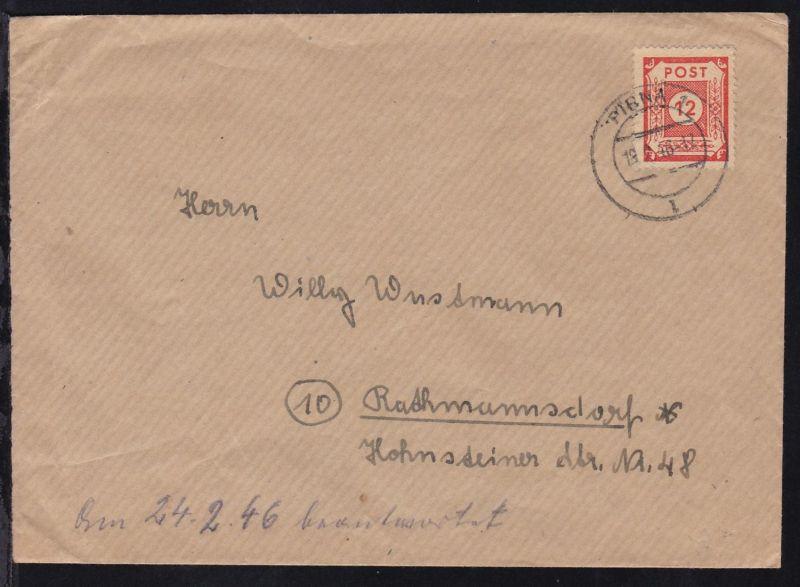 Ziffer 12 Pfg. auf Brief ab Pirna 18.2.46 nach Rathmannsdorf