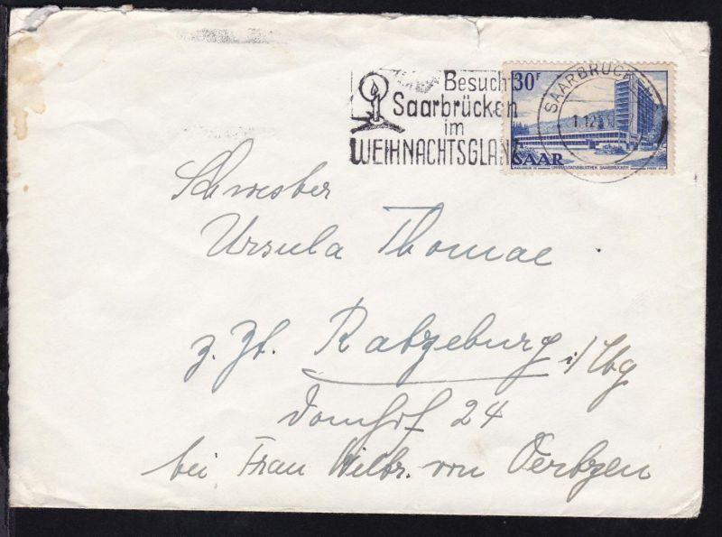 Freimarke 30 F. auf Brief mit Maschinenstempel SAARBRÜCKEN 2 1.12.53