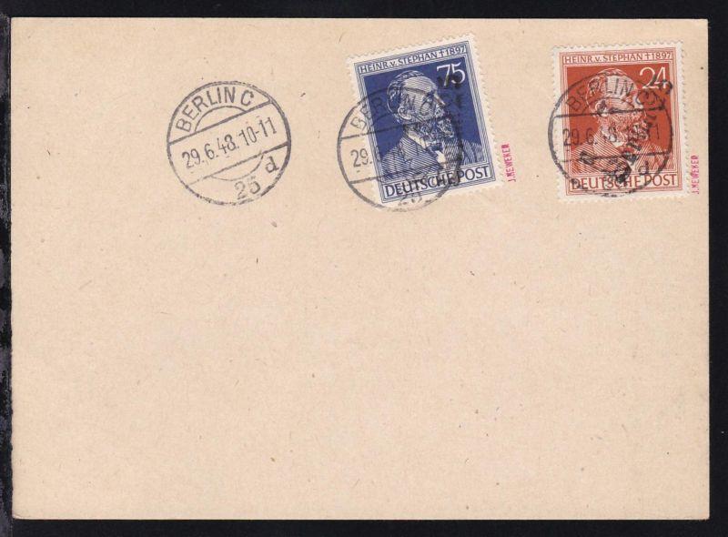 Heinrich von Stephan mit Aufdruck 3 Berlin 25 auf Stempelblatt, signiert