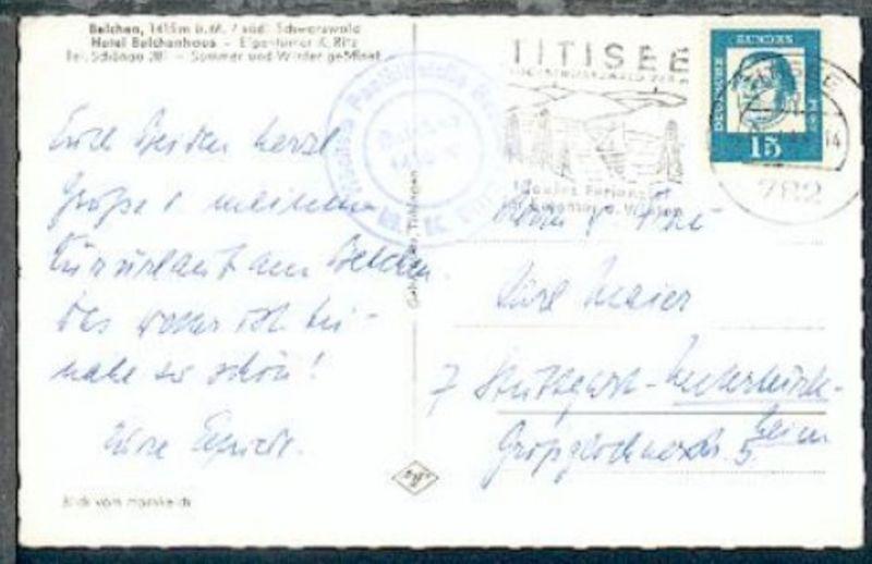Belchen 1415 m Höchste Posthilfsstelle Badens (K2) + OSt. Titisee 19.7.64 auf AK