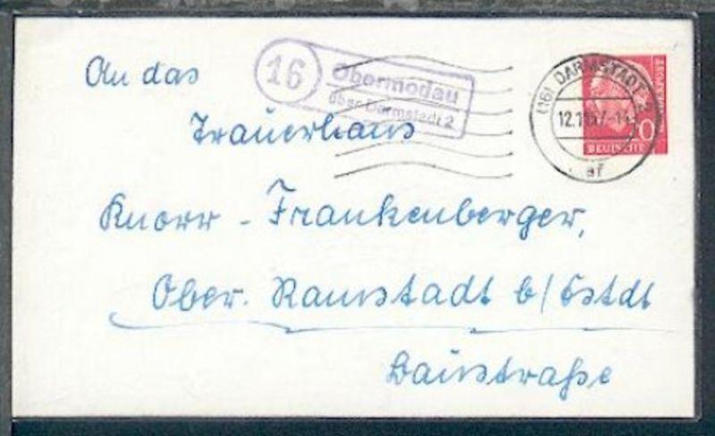 16 Obermodau über Darmstadt 2 (R2) + Ost. Darmstadt 12.11.57 auf Bf.