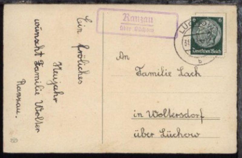 OSt. Lüchow 31.12.35 + R2 Ranzau über Lüchow auf Neujahrs-Kte