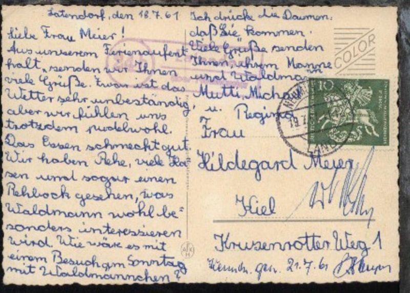OSt. Neumünster Land 19.7.61 + R2 24b Latendorf über Neumünster auf CAK