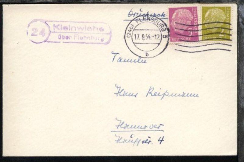 OSt. Flensburg 17.9.54 + R2 24 Kleinwiehe über Flensburg auf Bf.