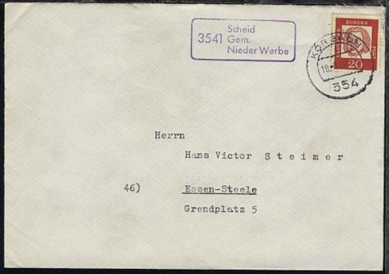 OSt. Korbach 10.3.64 + R3 3541 Scheid Gem. Nieder Werbe auf Bf.