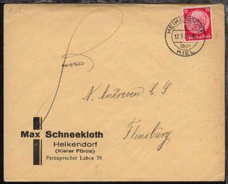 HEIKENDORF über KIEL a 12.3.34 auf Bf. mit Abs.-Druck