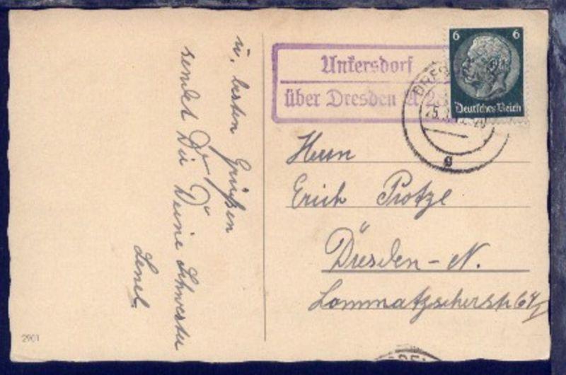 OSt. Dresden 25.9.40 + R2 Untersdorf über Dresden A 28 auf Geburtstags-Kte