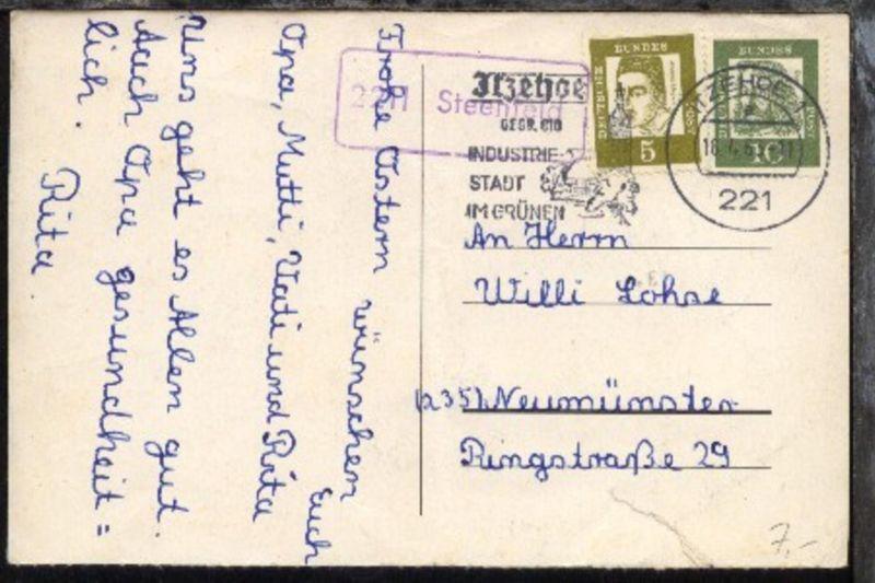 OSt. Itzehoe 16.4.63 + R1 2211 Steenfeld auf CAK, Kte Mittelbug + Einriss