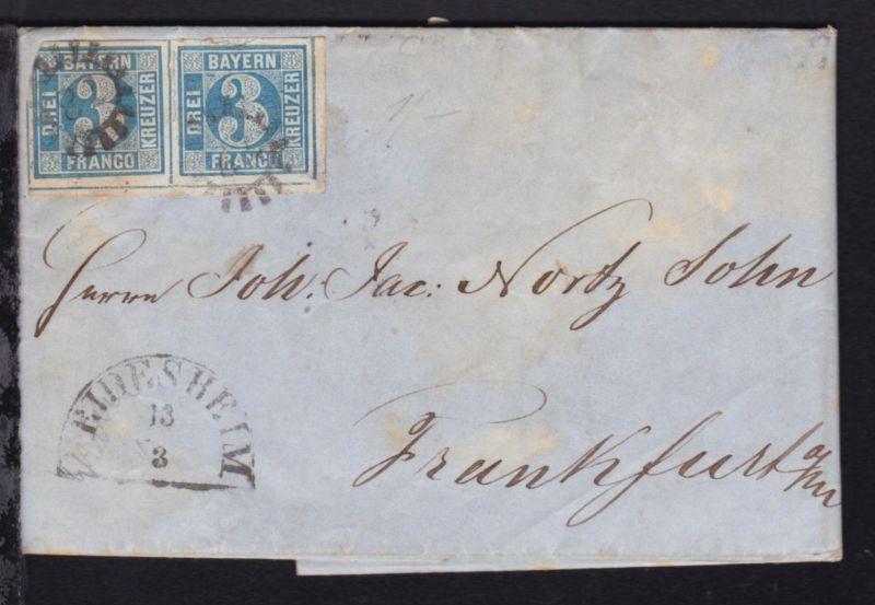 3 Kr.  waager. Paar auf Bf. mit MSt. 78 + Halbkreis-Stpl. DEIDESHEIM 13.3.(1858)