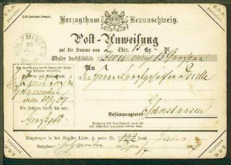 Dienst-Postanweisung mit K2 HOLZMINDEN 20 JUL 1867 nach Eschershausen (bl. K2 al