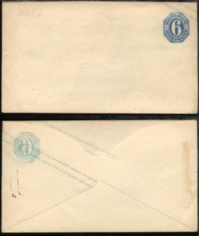 6 Kr., Umschlag  mit rs Blinddruck des Wertstempels, rs Papierrest
