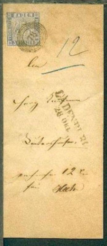 3 Kr. auf Gerichts-Bf. mit Nr.-Stpl. 78 + L2 LADENBURG 28. Okt, Marke Zahnfehler