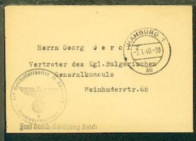 OSt Hamburg 2.1.40 + BfSt. Der Reichsstatthalter in Hamburg auf Bf. an den Vertr