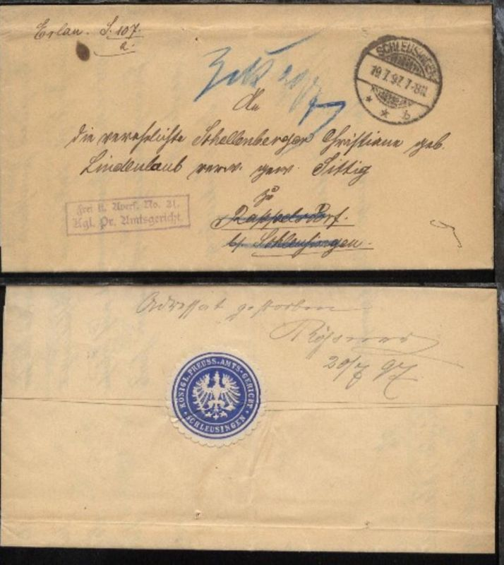 1897  Dienst-Bf. des Amtsgerichts Schleusingen nach Rappelsdorf mit