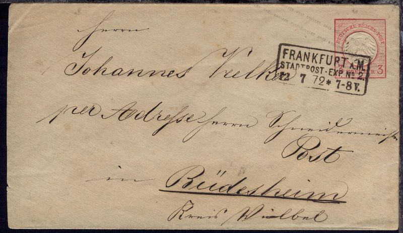 3 Kr. kleiner Schild mit R3 FRANKFURT A.M. STADTPOST-EXP. No 2 12.7.72