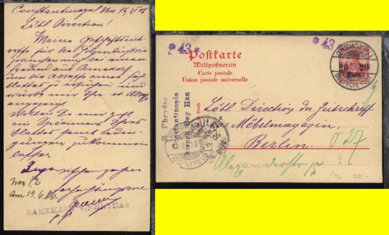 20 Para mit Stpl. CONSTANTINOPEL 1 15.6.06 nach Berlin (AkSt. 18.6.06)