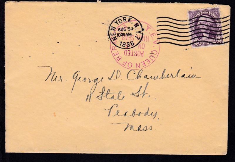 Maschinenstempel New york AUG 31 1936 + K1 T.E.V. QUEEN OF BERMUDA