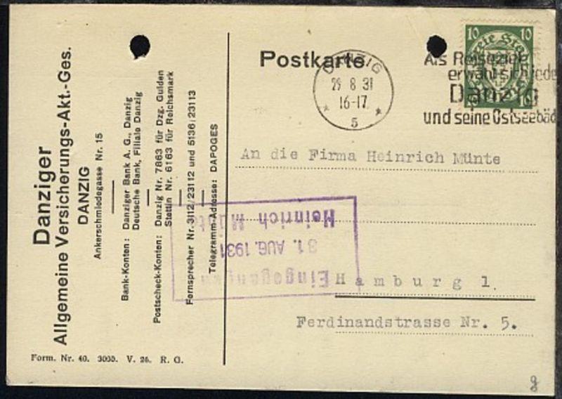 10 Pfg. auf PK der Danziger Allgemeinen Versicherungs-AG mit Stpl.