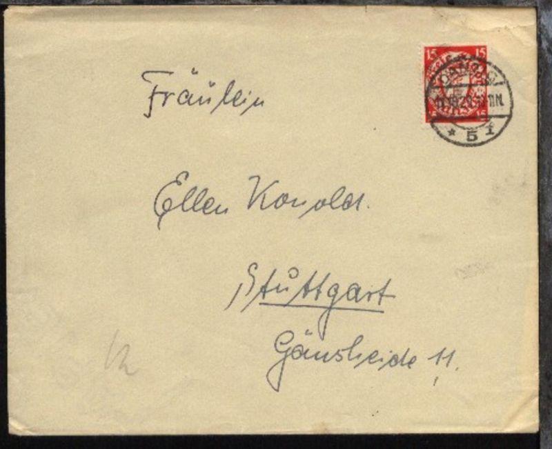 15 Pfg. auf Bf. mit Stpl. DANZIG *15f 11.10.29 nach Stuttgart,