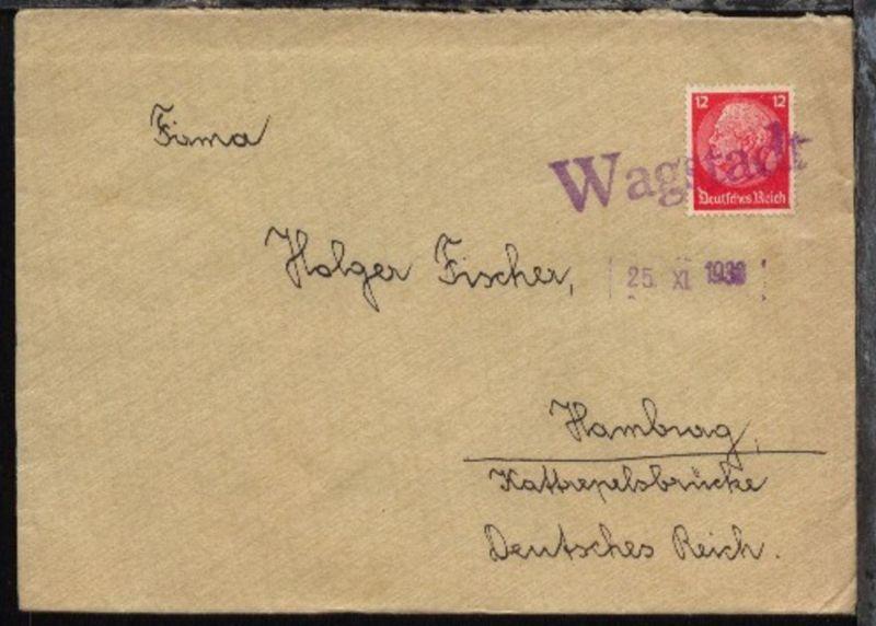 viol. L1 Wagstadt + Datum-L1 25.XI.1938 auf Bf.