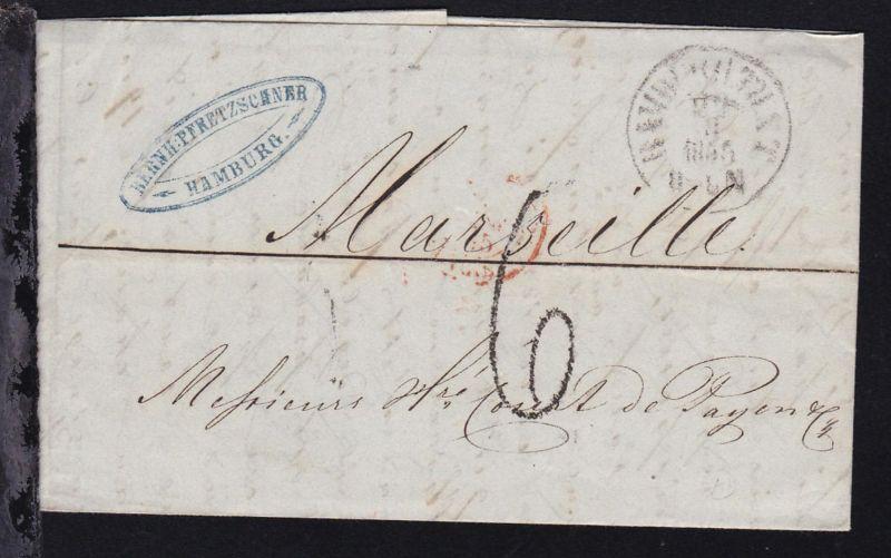 Hamburg K1 HAMBURG TH. & T. 22.3.1855 auf Firmenbrief (Bernh. Pfretzschner,