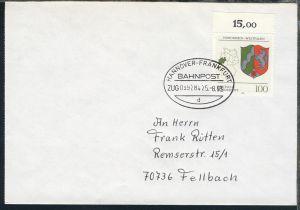 HANNOVER-FRANKFURT BAHNPOST d ZUG 039284 25.8.93 auf Brief