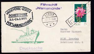 R1 Fra Warnemünde + OSt. Gedser 7.1.71 + Cachets MS Warnemünde auf Brief