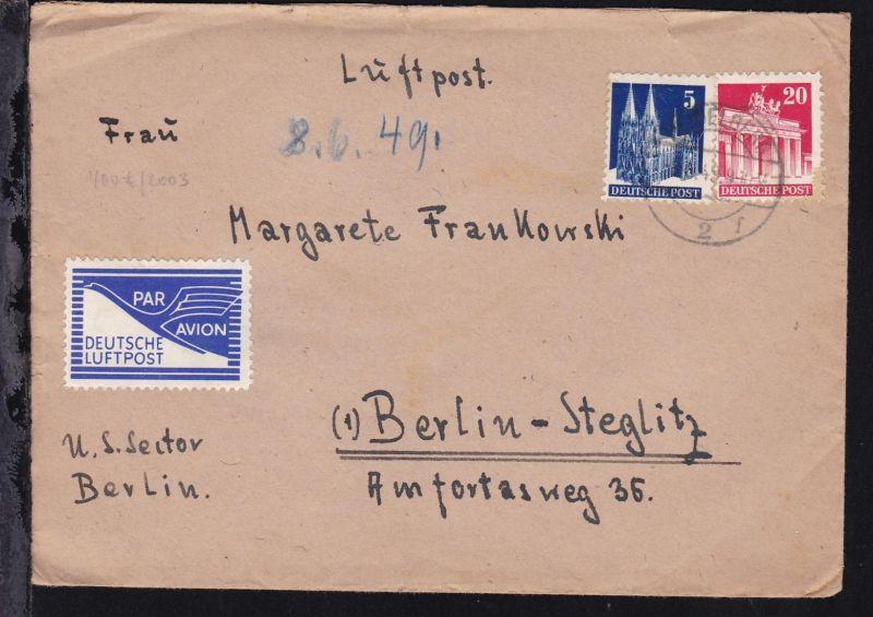 Bauten 5 Pfg. und 20 Pfg. auf Luftpostbrief mit Inhalt ab Heidelberg ?.6.49