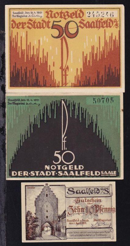 Saalfeld 1921 3 verschiedene Notgeldscheine 2x 50 Pfg. und 10 Pfg.