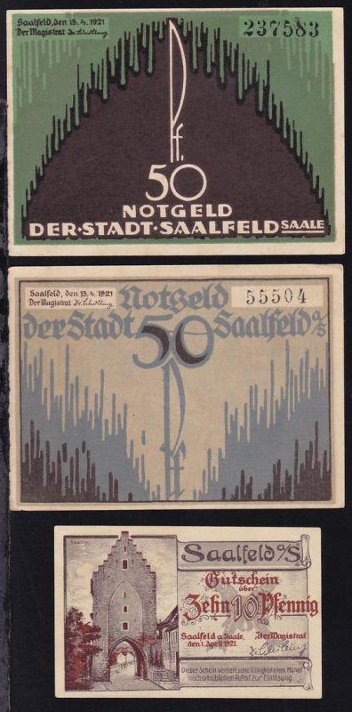 Saalfeld 1921 3 verschiedene Notgeldscheine 1x 10 Pfg. und 2x 50 Pfg.