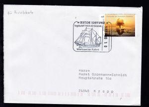 DEUTSCHE SCHIFFSPOST Segelschiff THOR HEYERDAHL Weltweite Fahrt 01.06.2014