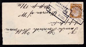MÜNCHEN SAALFELD BAHNPOST Zg. 49 31.12.33 auf Brief, rs Briefklappe fehlt