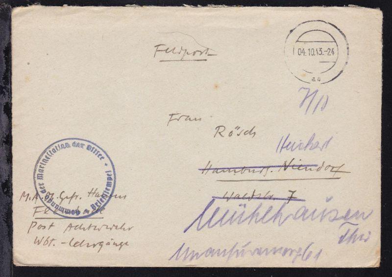 Tarnstempel 04.10.43 + K1 Kommando der Marinestation der Ostsee Briefstempel