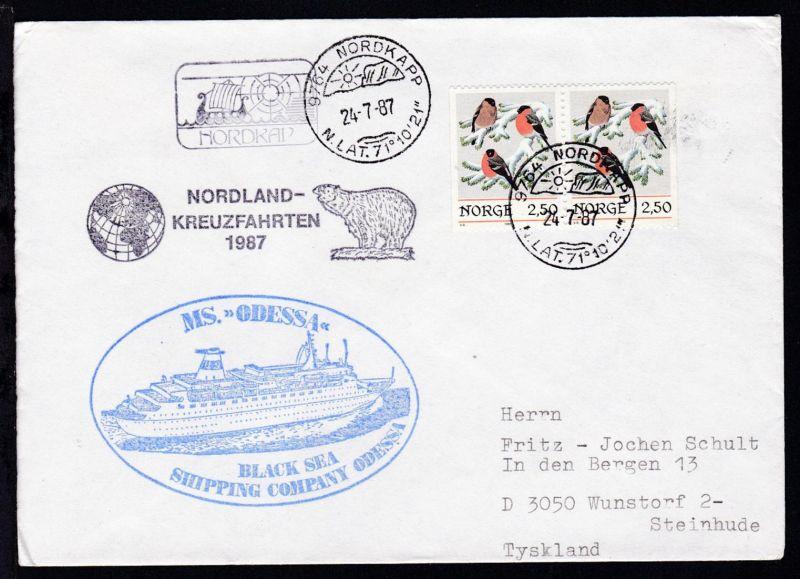 OSt. Nordkapp 24.7.87 + Cachet MS Odessa auf Brief