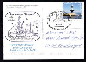 DEUTSCHE SCHIFFSPOST Dampfschiff BUSSARD FAHRTEN AUF OST- UND NORDSEE 26.4.09 +