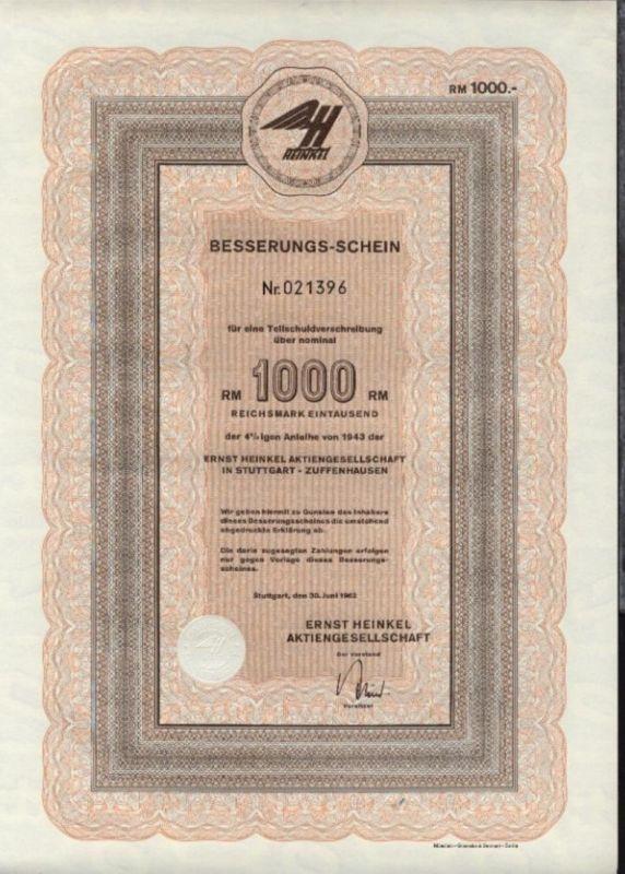 1962 Ernst Heinkel AG Stuttgart-Zuffenhausen Besserungs-Schein für eine