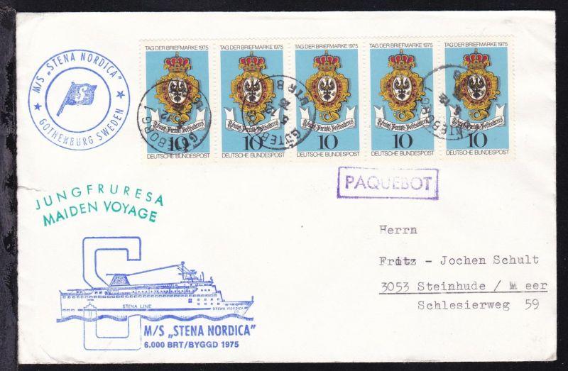 R1 PAQUEBOT + OSt. Göteborg 5.12.75 + Cachets MS Stena Nordica auf Brief,