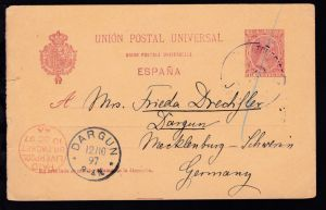 roter K1 PAID LIVERPOOL BR. PACKET 10 OC 97 als Transitstempel auf