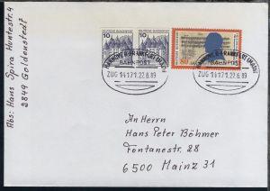 HANNOVER-FRANKFURT (MAIN) BAHNPOST ZUG 14171 22.6.89 auf Brief