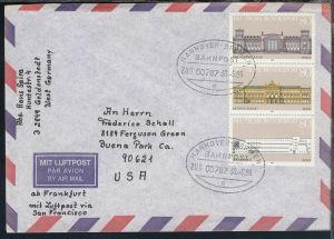 HANNOVER-BREMEN BAHNPOST e ZUG 00787 30.6.86 auf Brief
