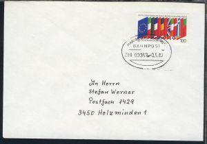 HANNOVER-BREMEN BAHNPOST ZUG 03357 8.5.89 auf Brief