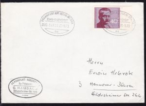 FRANKFURT AM MAIN-BEBRA BAHNPOST as ZUG 04889 20.9.73 auf Brief
