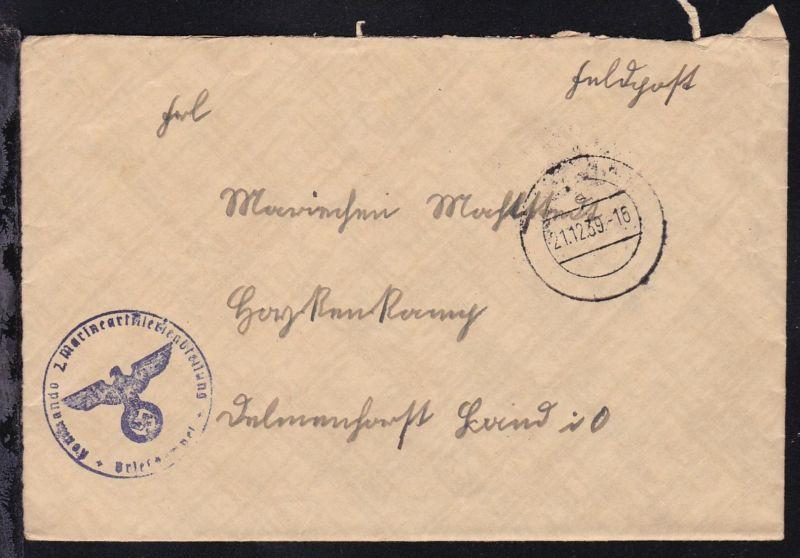 Tarnstempel 21.12.39 + K1 Kommando 2. Marineartillerieabteilung Briefstempel